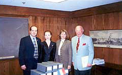 Stanford, California, March 11, 2002, after speech by H. E. Amb. Sorin Ducaru at the Hoover Institution (from left to right: H. E. Amb. Sorin Ducaru, Mrs. Carmen Ducaru, Ms. Dana Beldiman, The Hon. George Shultz, frmr. U.S. Secretary of State