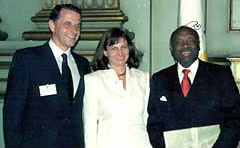 His Excellency Ambassador Mircea Geoana, Dana Stanculescu, Honorary Consul of Romania in San Francisco, The Honorable Willie Brown Jr., Mayor of San Francisco at the Inauguration of the Honorary Consulate of Romania in San Francisco, April 26, 2000