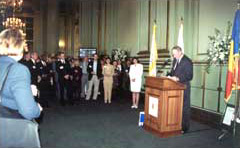 Rhea Serpan, President of the San Francisco Chamber of Commmerce, speaking at the Inauguration of the Honorary Consulate of Romania, April 26, 2000