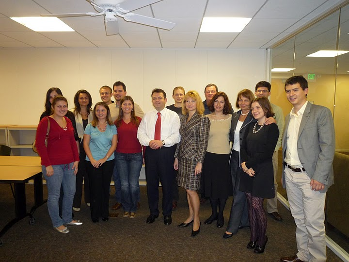 H.E. Amb. Adrian Vierita and Mrs. Codrina Vierita meeting with Romanian students at Stanford University, November 14, 2008